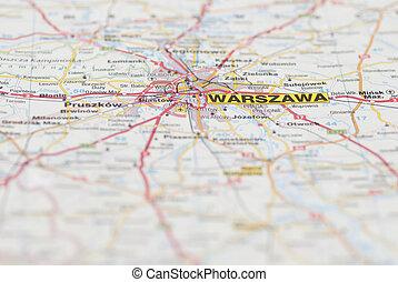 Map of Warsaw City. - Macro images of Warsaw (Warszawa,...