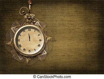 Starożytny, koronka, zegar, Abstrakcyjny, twarz, tło,...
