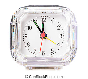 analog alarm clock on white background