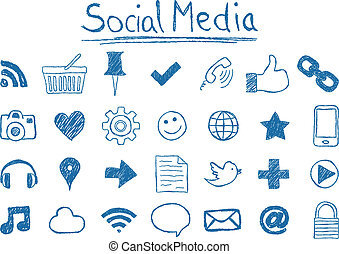 Social Media Icons - Illustration of Social Media Icons,...