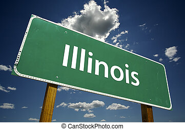 Illinois Road Sign with dramatic clouds and sky