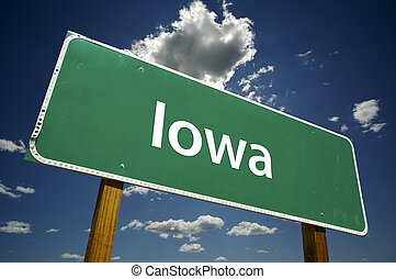 Iowa Road Sign with dramatic clouds and sky.