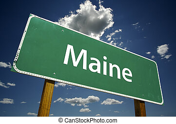 Maine Road Sign with dramatic clouds and sky