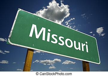 Missouri Road Sign with dramatic clouds and sky