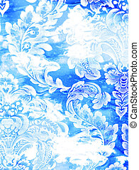 Abstract textured background: white floral patterns on blue backdrop
