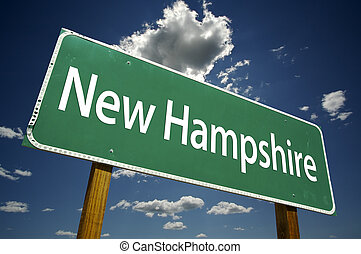 New Hampshire Road Sign with dramatic clouds and sky