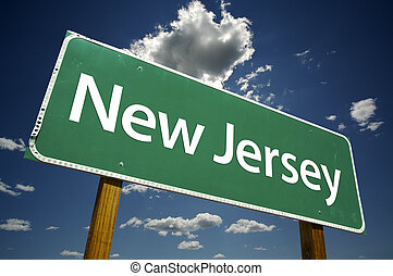 New Jersey Road Sign with dramatic clouds and sky.