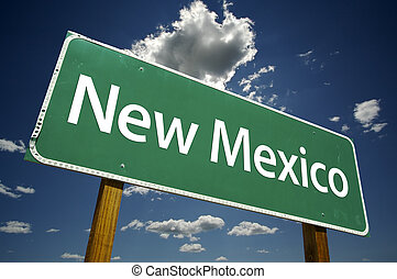 New Mexico Road Sign with dramatic clouds and sky.