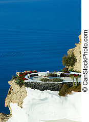 Santorini Oia village terasse by the sea