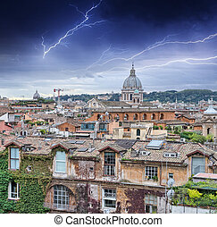 Beautiful panorama of Rome Homes and Landmarks