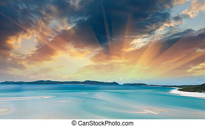 Wonderful colors of Whitsunday Islands on winter season,...