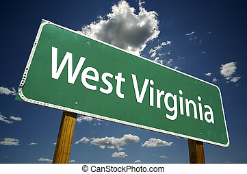 West Virginia Road Sign with dramatic clouds and sky