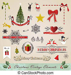 Vintage christmas elements set - Vintage stitching christmas...