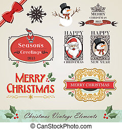 Vintage christmas elements set - Vintage christmas and new...