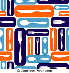 Seamless Silverware Pattern - Multicolored seamless...