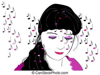 kobieta, słuchający, muzyka