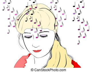 owłosienie, kobieta, muzyka, Jasny, słuchający