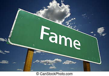 Fame Road Sign with dramatic clouds and sky.