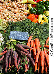 Marketplace - Vegetable stand at a marketplace in Mainz,...