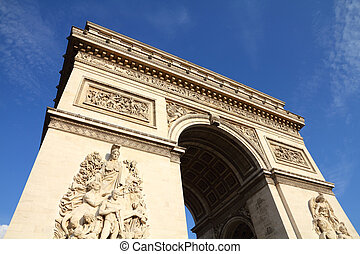 Paris, France - famous Triumphal Arch located at the end of...