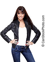 Glamorous young woman in black leather jacket on white...