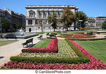 Belgrade, Serbia - famous Old Palace and flower gardens in...