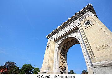 Bucharest, capital city of Romania. Arcul de Triumf - famous...