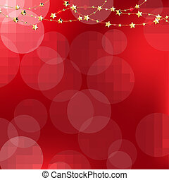 Golden Stars With Red Bokeh Background