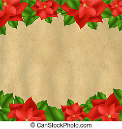 Red Poinsettia Borders With Old Paper