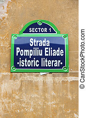 Bucharest, capital city of Romania Typical street sign at...