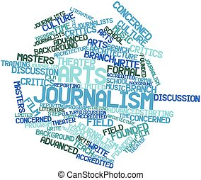 Arts journalism - Abstract word cloud for Arts journalism...