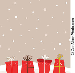 Retro christmas snowing background with gifts - Retro xmas...