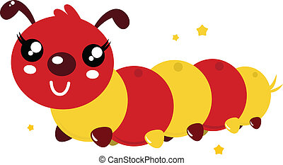 Colorful happy cartoon caterpillar isolated on white - Red...