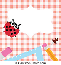 School blank banner with Ladybug and accessories - Retro...