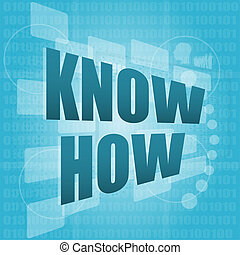 know how on digital screen - business concept