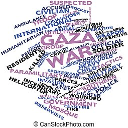 Gaza War - Abstract word cloud for Gaza War with related...