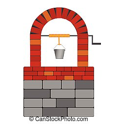 draw well with red brick vector illustration