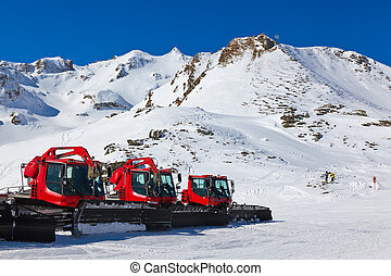Snowplow at Mountains ski resort Bad Hofgastein Austria