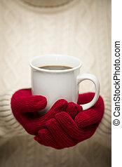 mujer, suéter, rojo, Manoplas, tenencia, taza,...