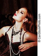 joven, tentador, rojo, pelo, mujer, sensual, emociones,...