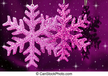 Christmas snowflakes on purple background