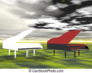 piano red and white