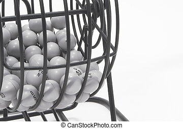 Bingo Cage - A bingo game cage with numbered balls.