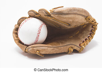Baseball and Baseball Glove - A baseball inside of a...