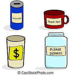 Donation jar and cups - Cartoon illustration showing a...