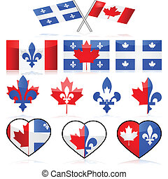 Canada and Quebec - Set showing different illustrations...