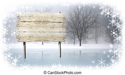 Wooden sign on snowy field