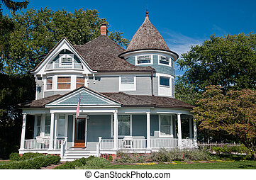 Victorian House - Beautiful gray traditional victorian house...