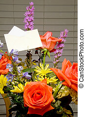 Bouquet of Flowers - A Bouquet of Flowers with a card.