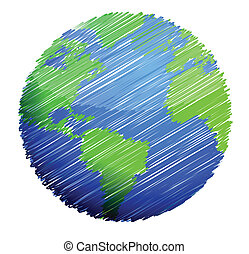 earth sketch illustration design over a white background